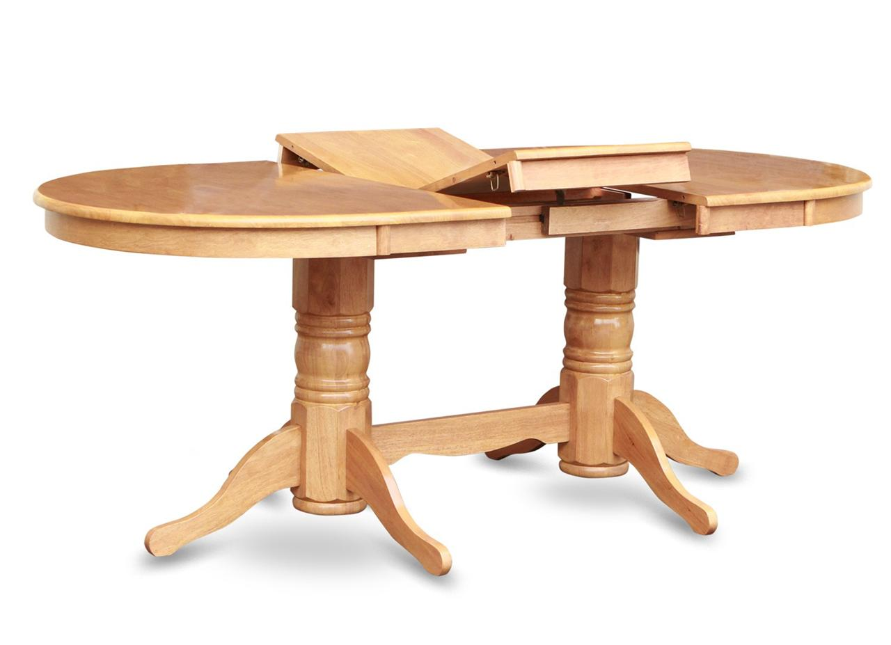Vancouver oval double pedestal dining table in oak 40 x76 chair not included ebay - Pedestal kitchen tables ...