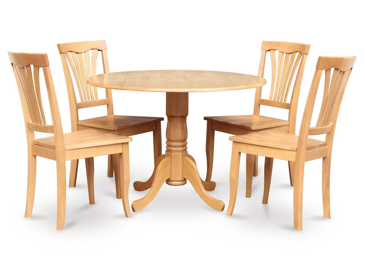 5pc 42 round dinette kitchen dining table w 4 plain wood for Wood round dining table for 4