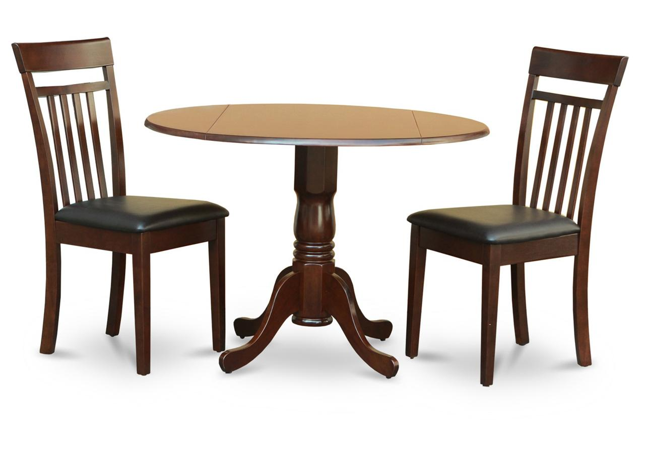 3pc 42 round kitchen dining table 2 faux leather seat for Leather kitchen table chairs