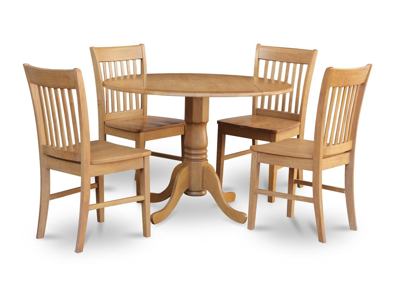 5pc dinette kitchen set round 42 table 4 wood seat chairs for Wood kitchen table sets