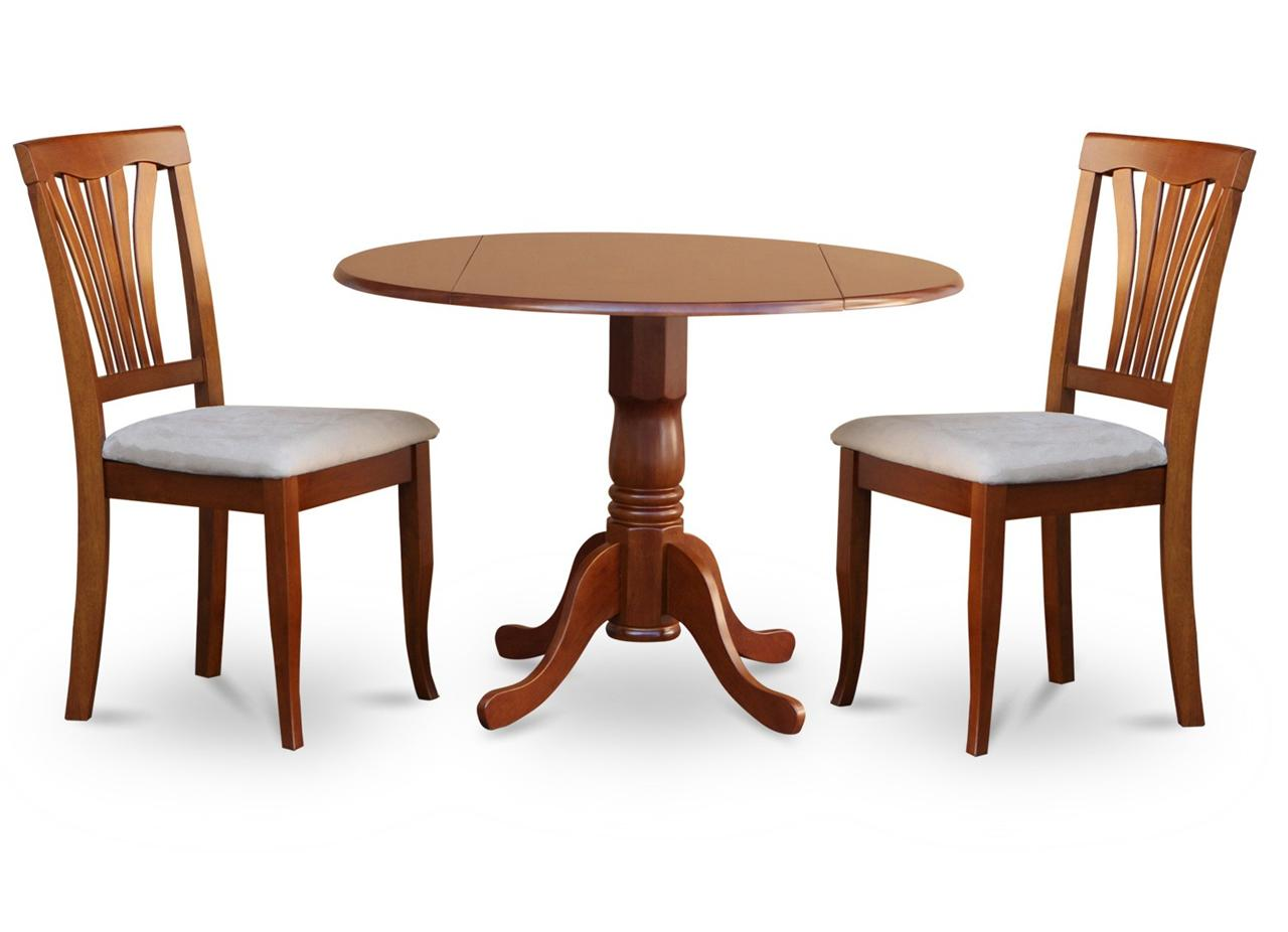 3pc Kitchen Dinette Set Round 42 Table 2 Wood Seat