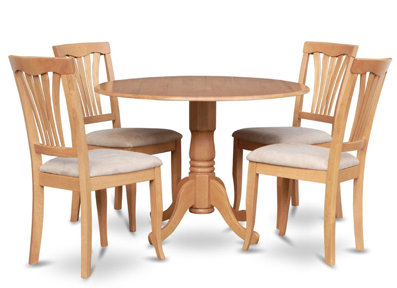 5pc 42 round dinette kitchen dining table w 4 microfiber cushion chairs in oak ebay Round dining table set