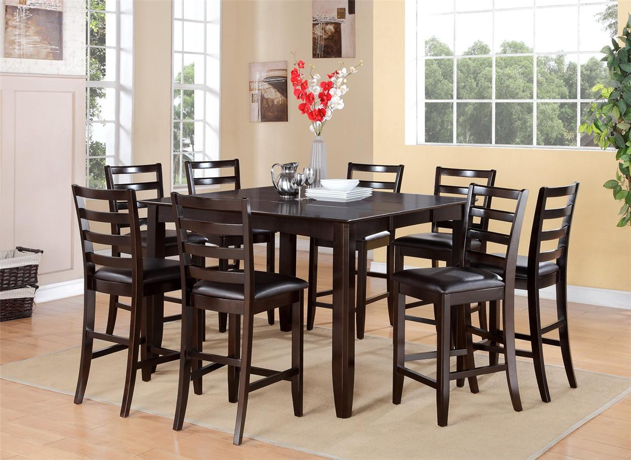 9pc square counter height dining room table with 8 leather chairs in