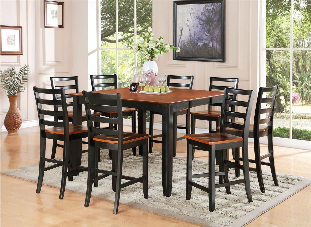 7 pc square counter height dining room table 6 wood seat for Tall dinner table set
