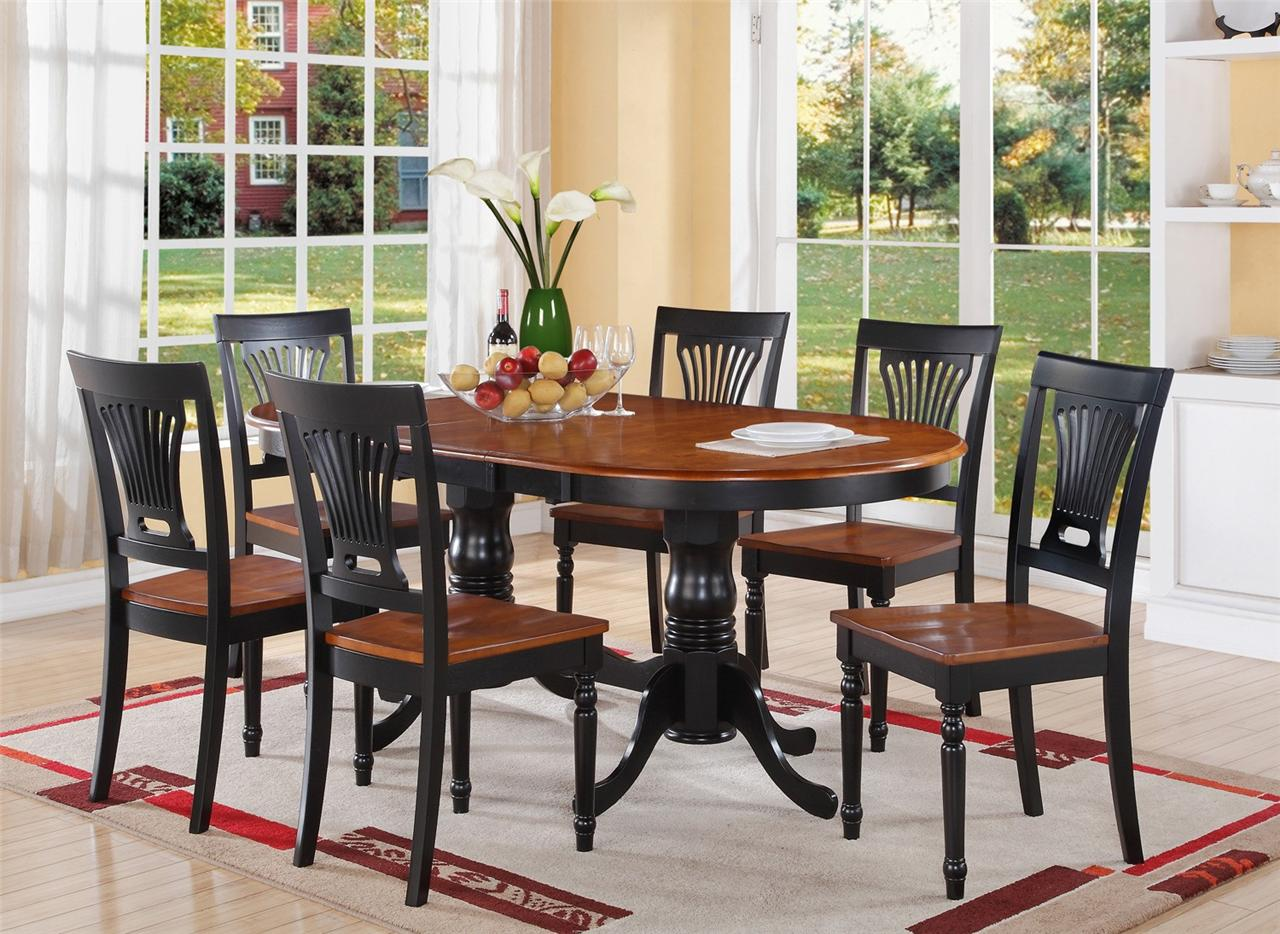 7pc oval dinette dining room table extension leaf with 6