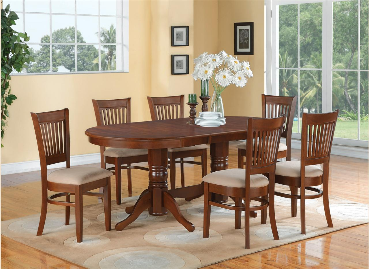 7 pc oval dinette dining room set table and 6 upholstered for Dining room table with 6 chairs