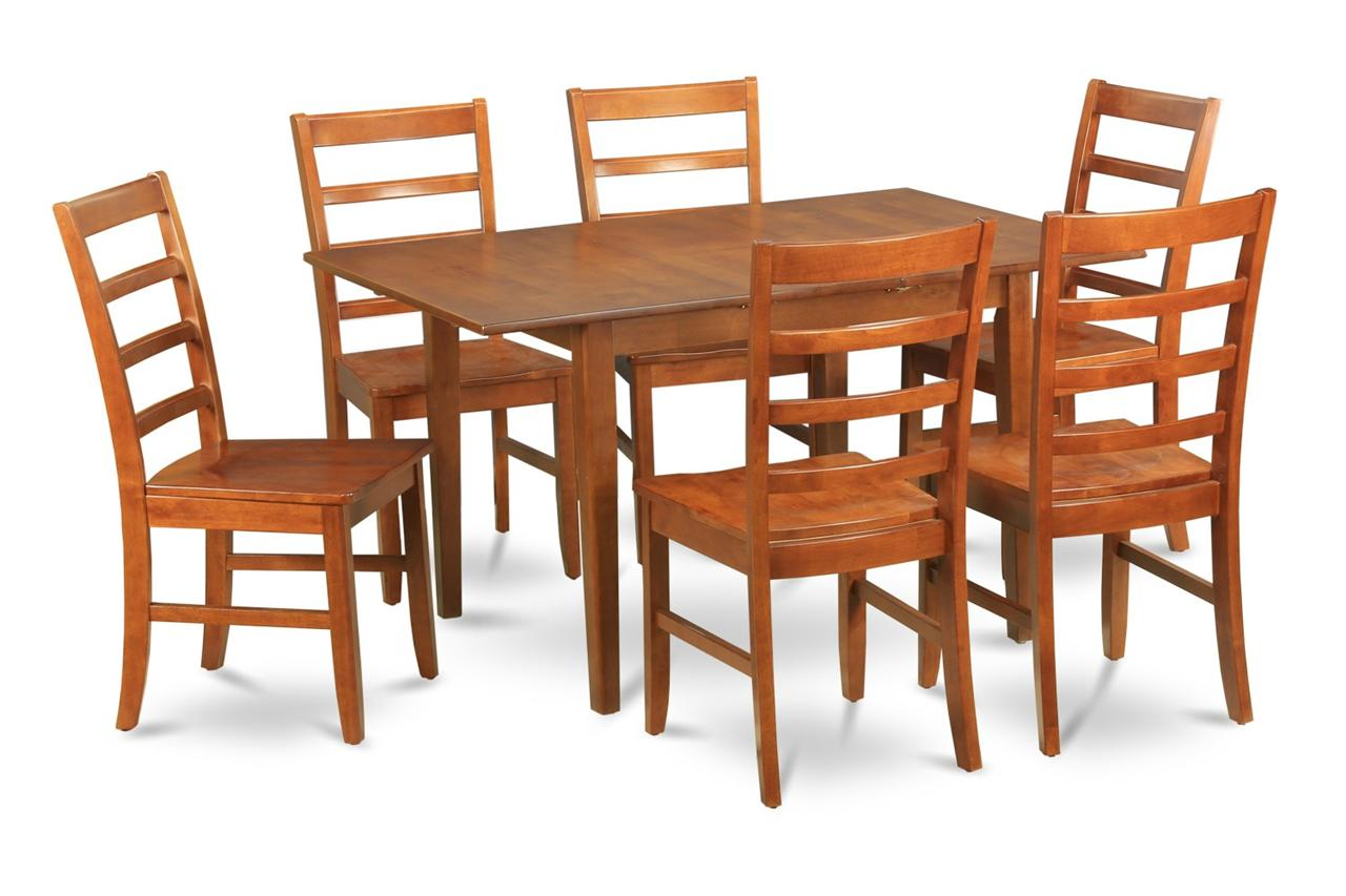7 pc rectangular dinette kitchen dining table 6 wood seat chairs in brown ebay - Rectangle kitchen table sets ...