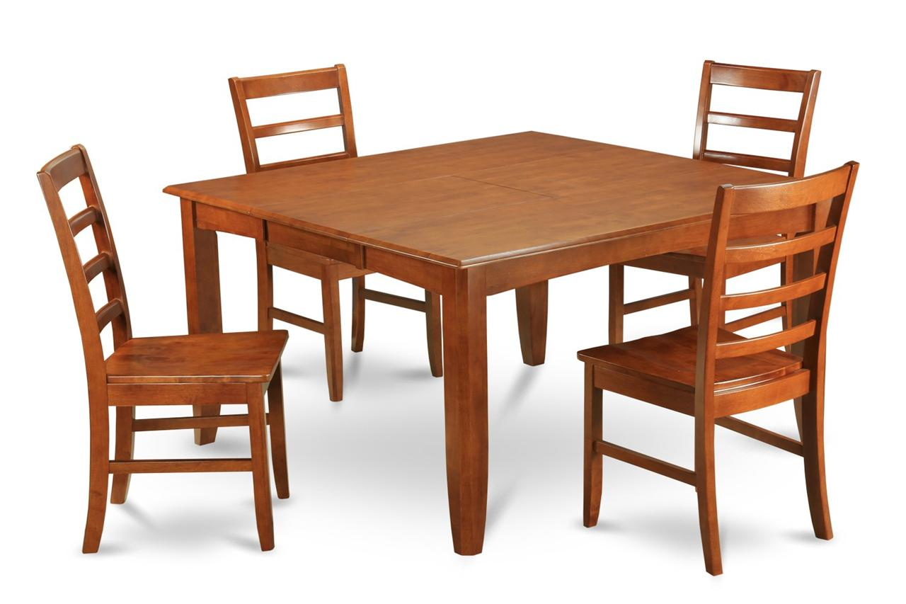 5 Pc Square Dinette Kitchen Dining Table Set 4 Wood Seat Chairs In Brown Ebay