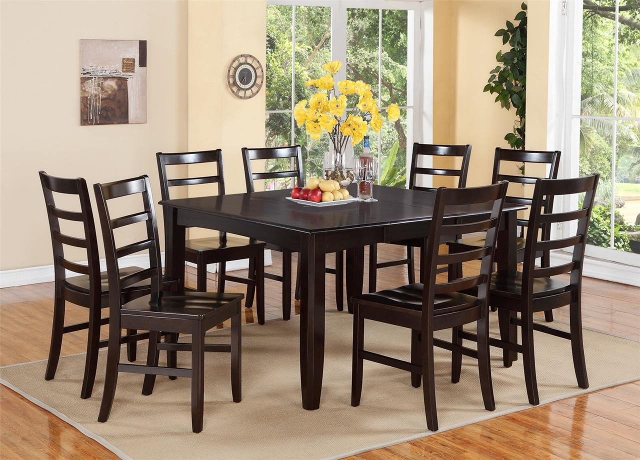 9 pc square dinette dining room table set and 8 wood seat for Square dinette sets