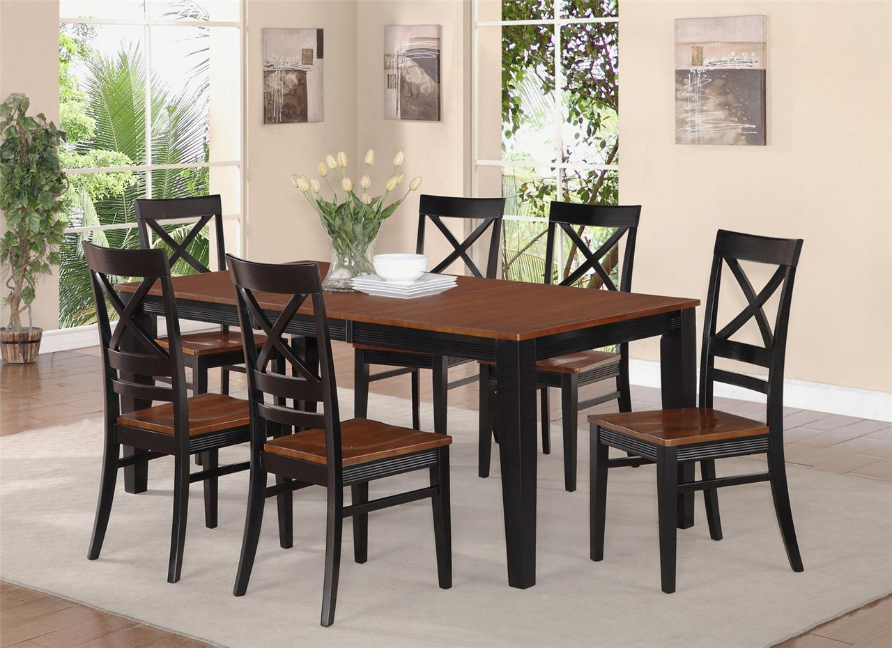 dinette dining room set table and 8 wood seat chairs in black ebay