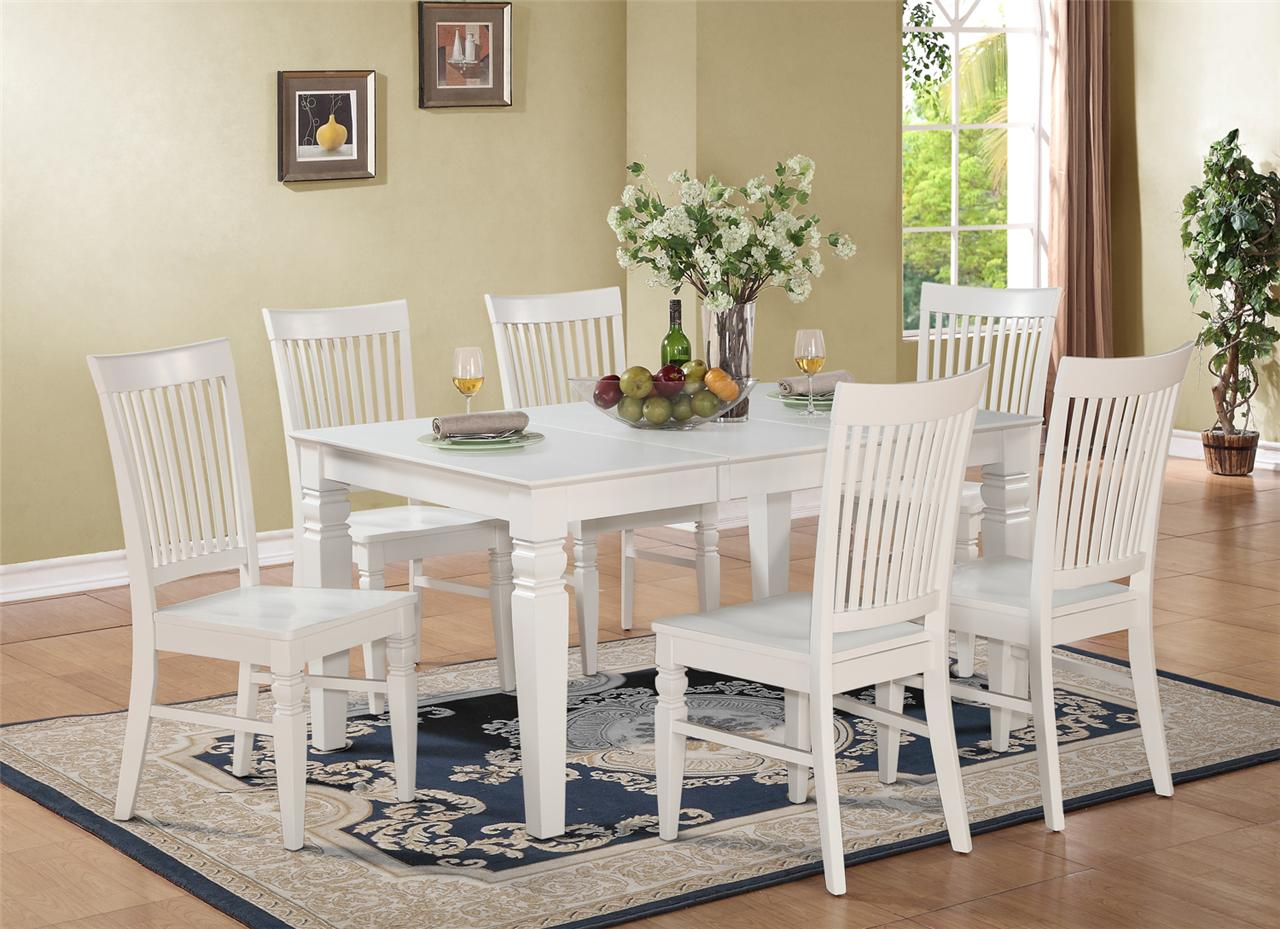 5pc rectangular dinette kitchen dining set table 4 wood for White kitchen table set