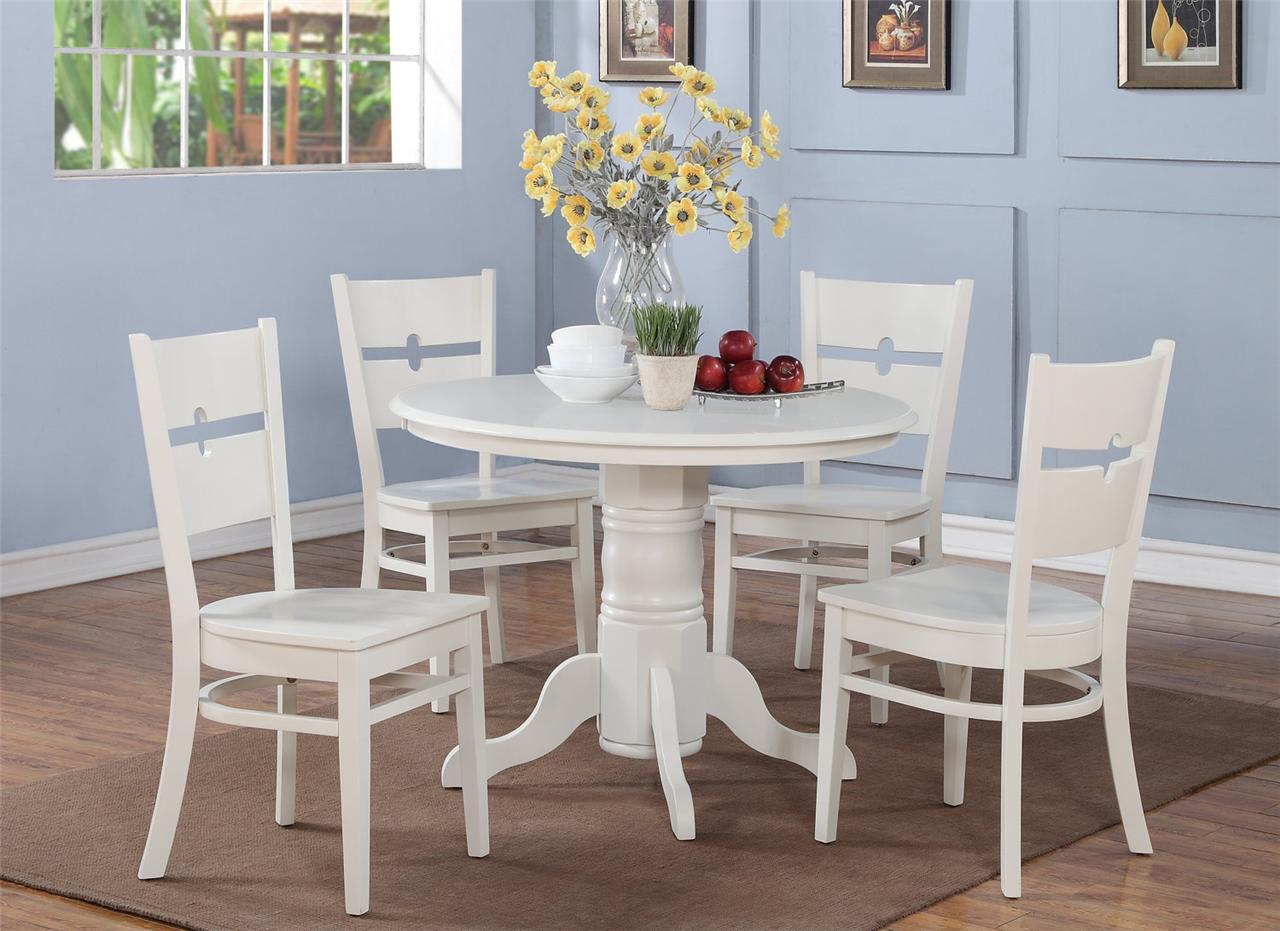 5 pc shelton 42 in round kitchen dinette table 4 chairs for White kitchen table set