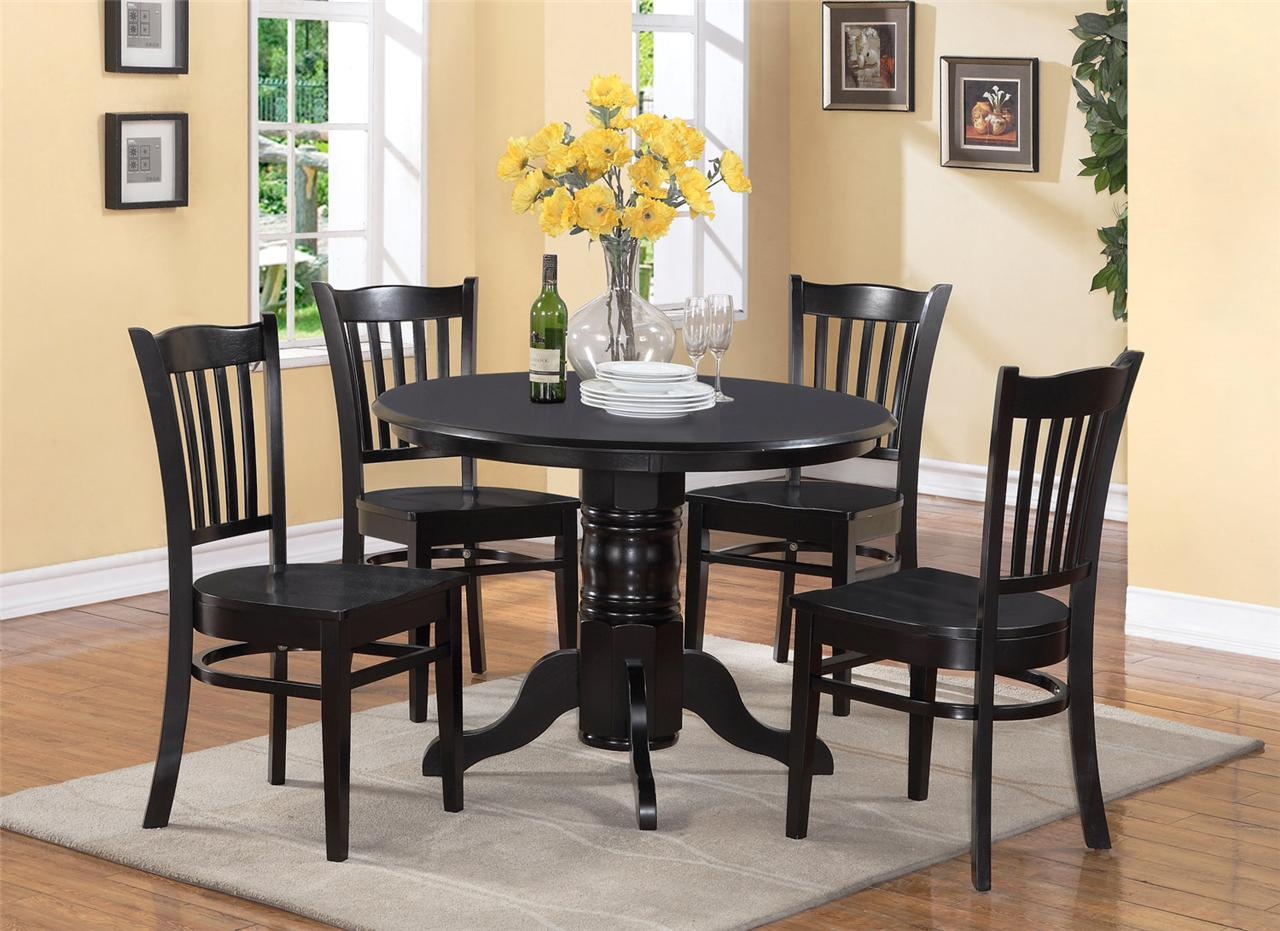 Shelton 5pc dinette kitchen set- Round table & 4 chairs in black finish