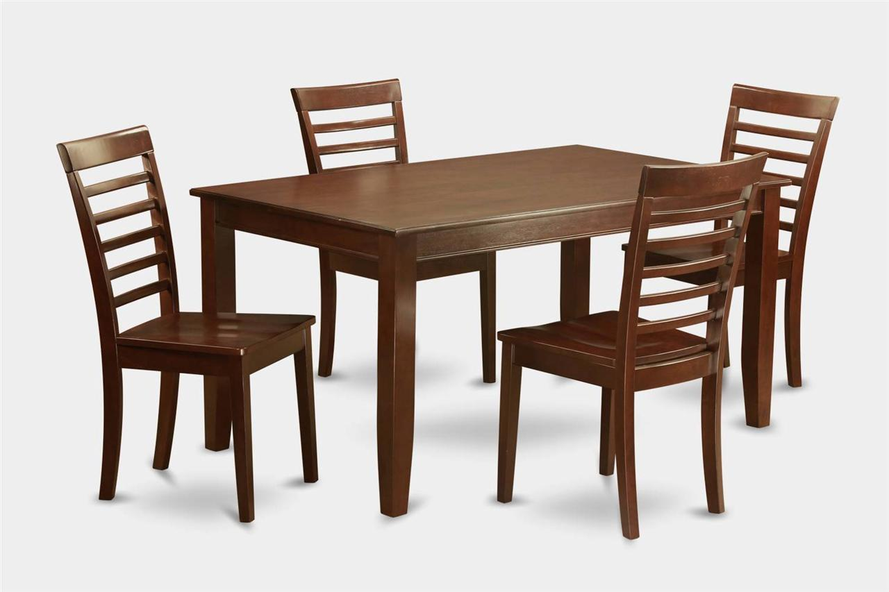 5pc Rectangular Dinette Kitchen Dining Table With 4 Wood Seat Chairs In Mahog