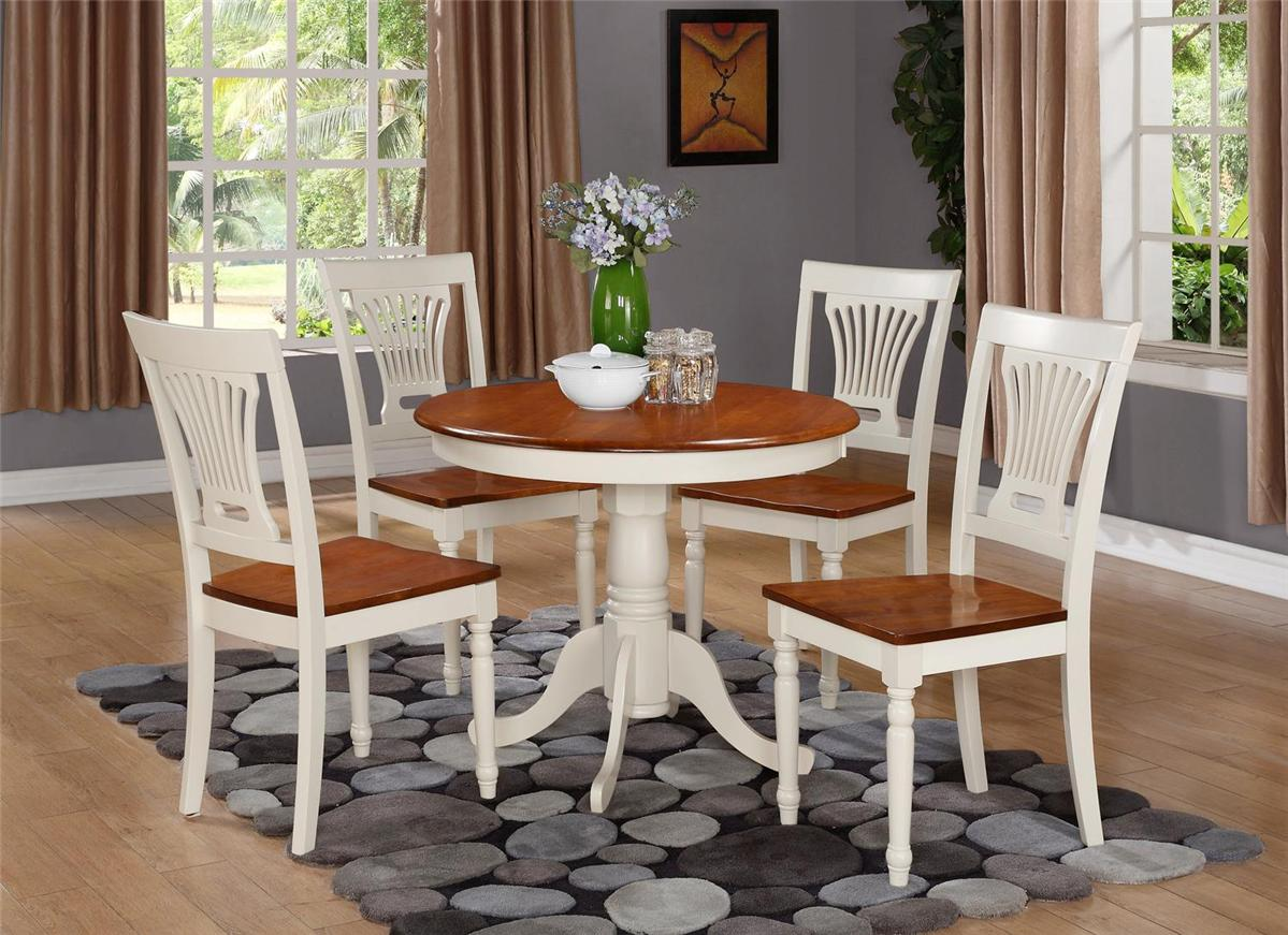 5pc round table dinette kitchen table 4 chairs in for Kitchen table with 4 chairs
