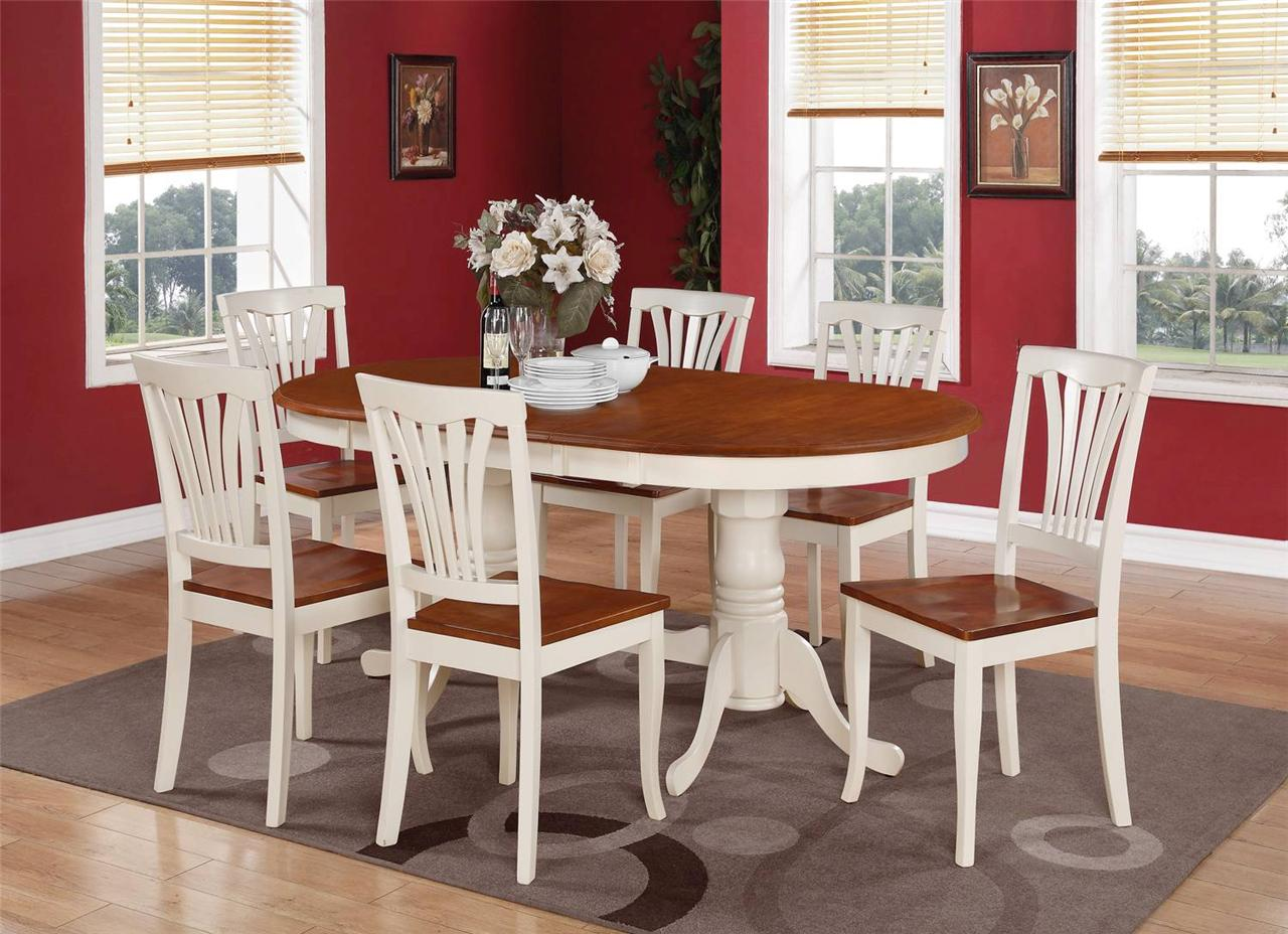 7 PC Set Oval Dinette Dining Room Table w 6 Wood Seat  : 736043887o from ebay.com size 1280 x 928 jpeg 161kB