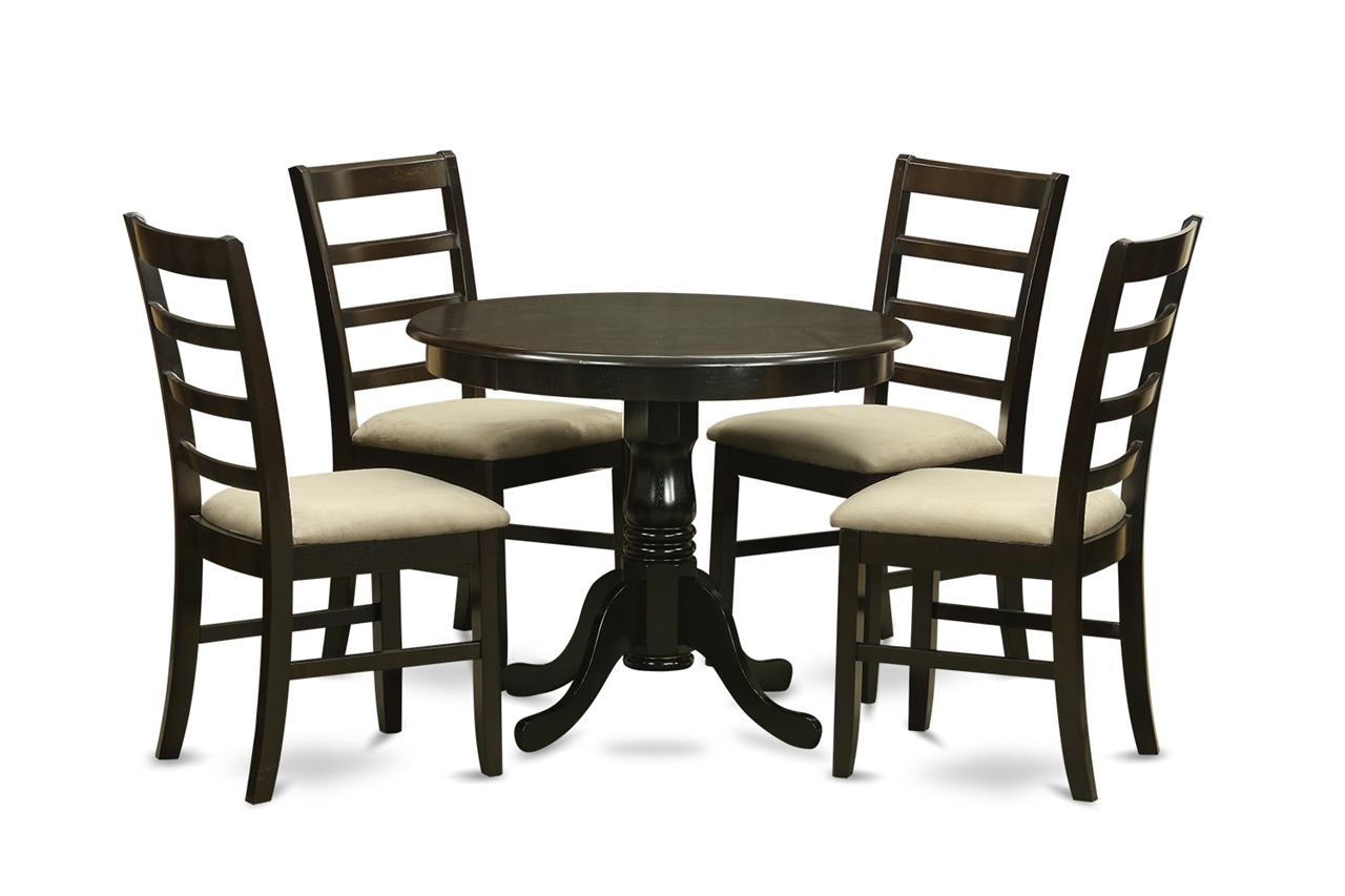 3pc dinette kitchen set round table with 2 upholstered chairs in
