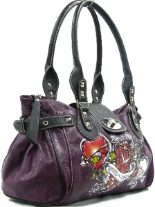 Ejs Designer Tattoo Skull Heart Satchel Handbag Purse Loved N Lost
