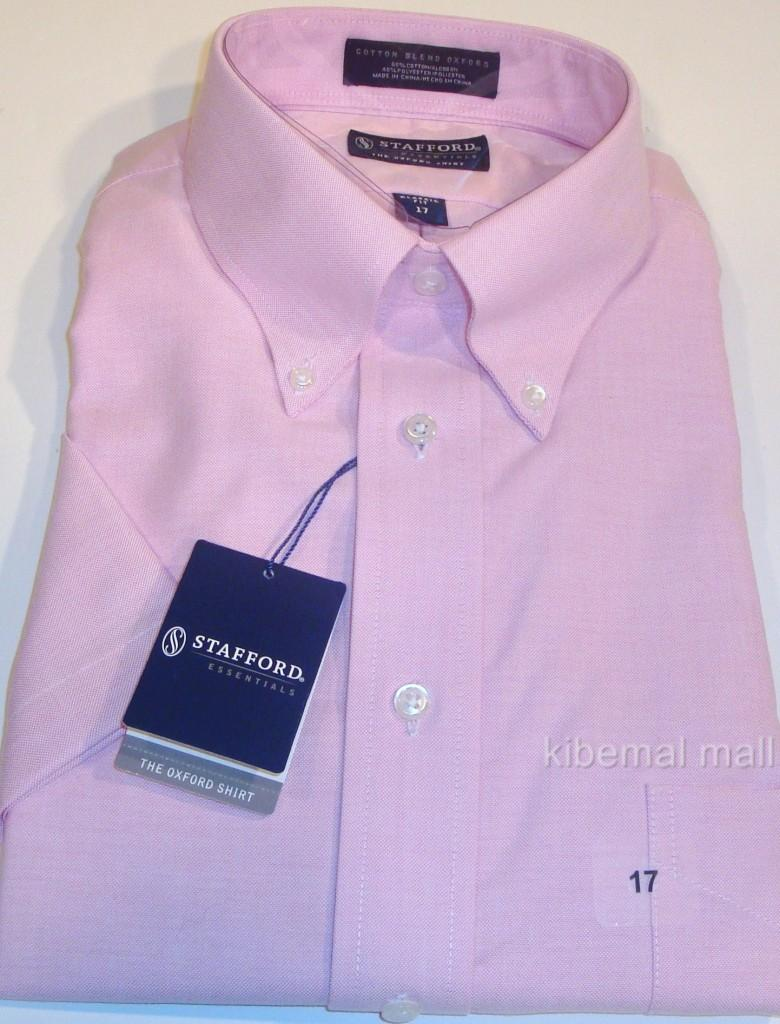 Nwt stafford men 39 s oxford dress shirt s s button collar for Stafford dress shirts fitted