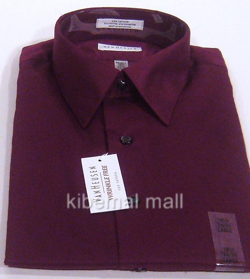 Nwt van heusen men 39 s dress shirt lux sateen wrinkle free for Van heusen men s regular fit pincord dress shirt