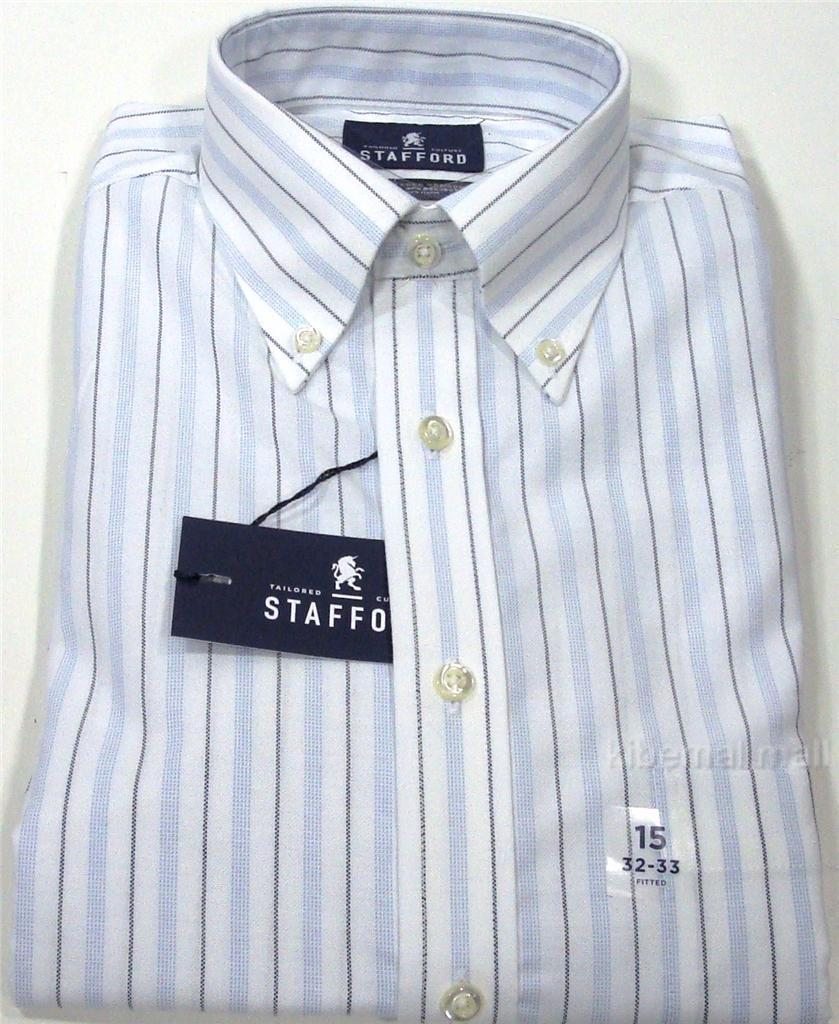 Nwt stafford men 39 s fitted oxford dress shirt wrinkle free Best wrinkle free dress shirts