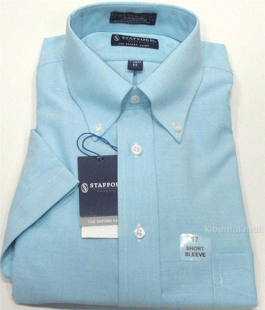 Nwt stafford men 39 s short sleeve regular fit oxford dress for Stafford dress shirts fitted