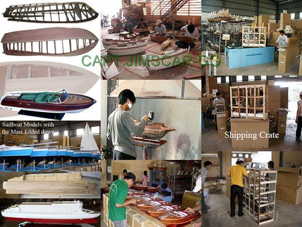 Ship Model Wooden Boat Sailboat Building Shipping Crates