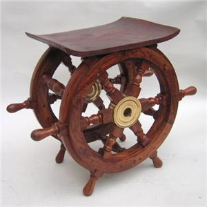 Wooden Teak Ship Wheel End Table Holiday Gift