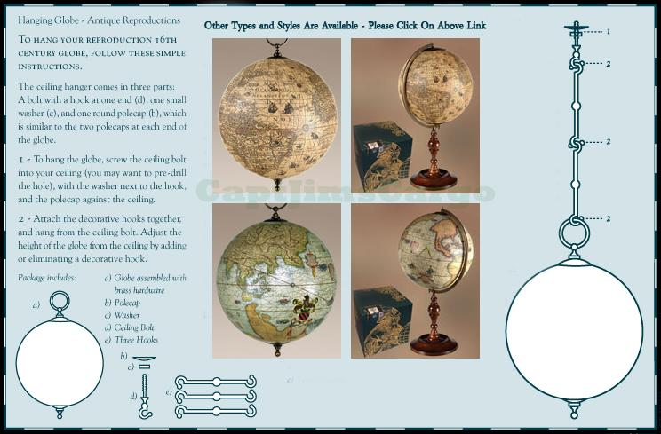 JODOCUS HONDIUS WORLD GLOBE HANGING INSTRUCTIONS