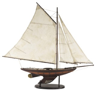 Nautical Antiqued Yacht Ironsides Wooden Model Sailboat