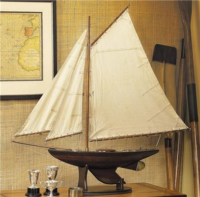 Nautical Antiqued Yacht Ironsides Wooden Model Sailboatl