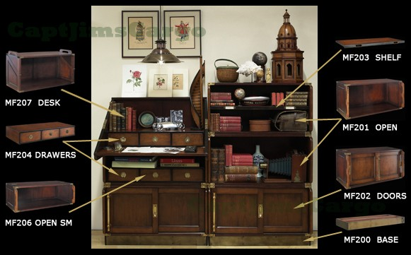 Military Campaign Modular Bookcase Stacking Unit Shelf