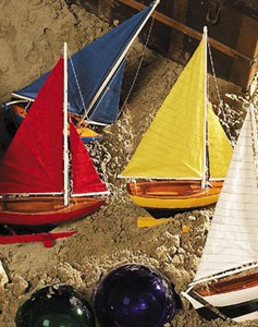 Colorful Sailing Dingy Wood Model Sailboats Set