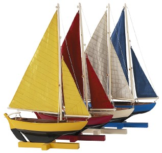 Colorful Sailing Dinghy Wood Model Sailboats Set