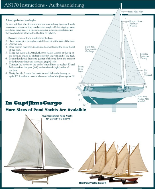 Sailing Dinghy Model Sailboat Instructions