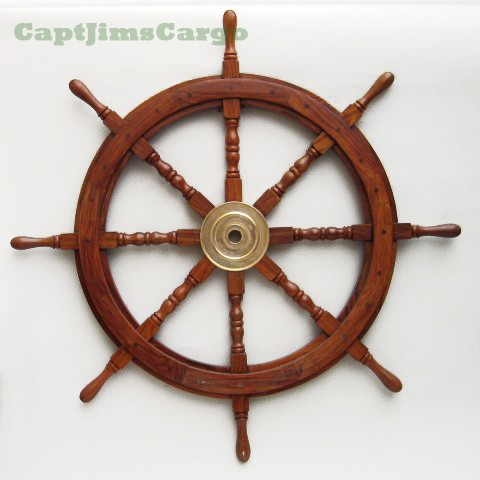 Wooden Boat Ship Steering Wheel