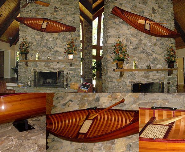 DISPLAY CEDAR STRIP CANOE WOOD MODEL WALL BRACKET