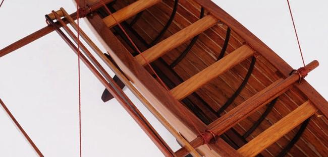 Hawaiian Outrigger Canoe Wooden Boat Model