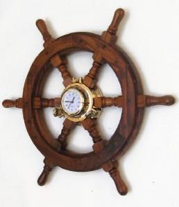 Brass Porthole Clock 18 Quot Teak Wood Ship S Steering Wheel