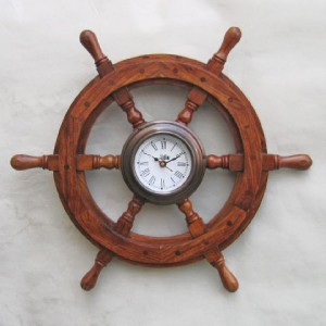 Train Clock 18 Quot Ship S Teak Wood Steering Wheel Nautical