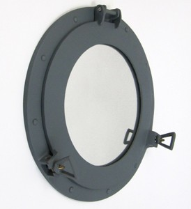 Aluminum Battleship Gray Finish Ship Porthole Mirror