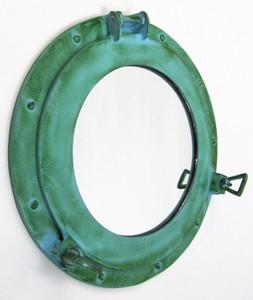 Aluminum Green Finish Ship Porthole Wall Mirror