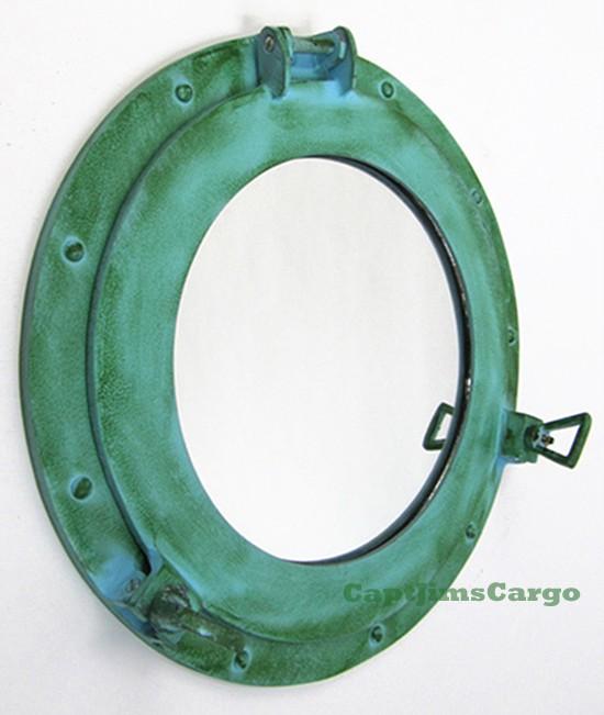 Aluminum Green Ships Cabin Porthole Mirror Round