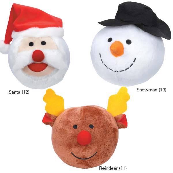 Plush Snowball Dog Toy Squeaker
