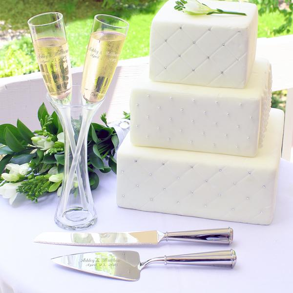 Champagne Toasting Flutes In Vase Wedding Cake Server Amp Knife Set