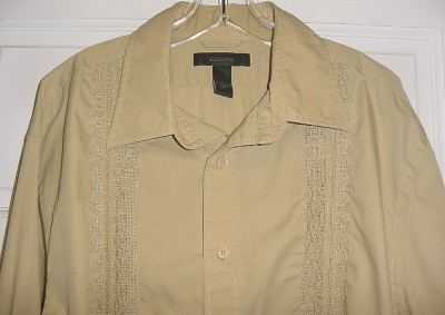 Express mens tan beige 100 cotton long sleeve button down for Mens 100 cotton button down shirts