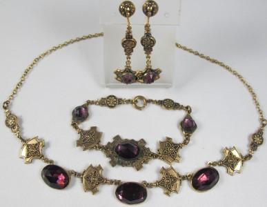 Deco Nouveau Amethyst Glass Necklace Bracelet Earrings Demi Set
