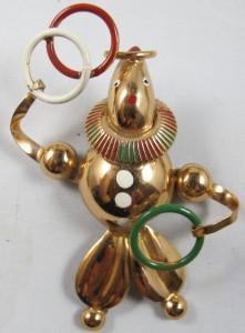 Vtg 1940s Clown Juggling Rings Rose Gold Plated Pin Brooch Sculptural