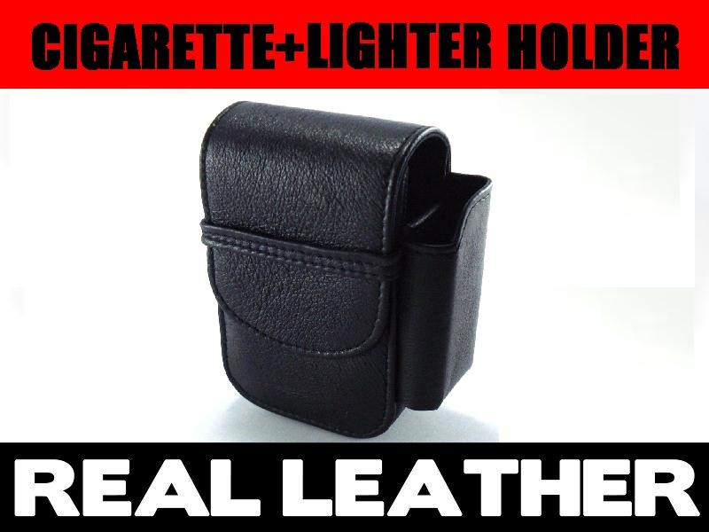 Just Leather Cigarette Case purse Lighter pouch Genuine Leather Black
