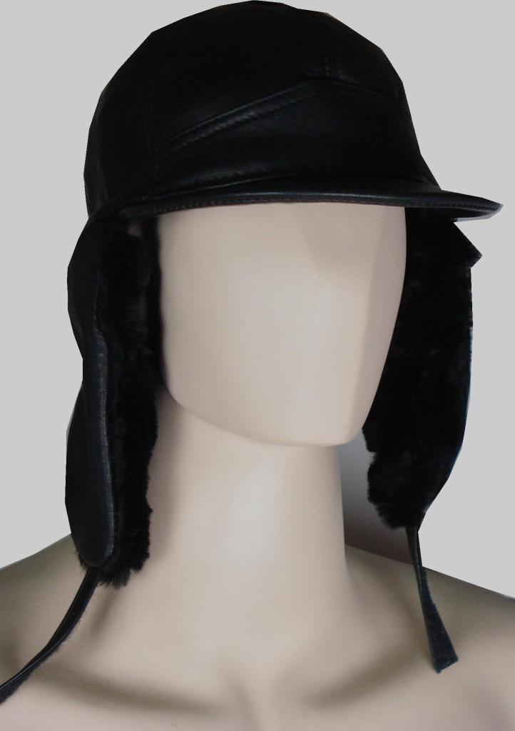 GENUINE-LEATHER-WINTER-BOMBER-AVIATOR-TROOPER-RUSSIAN-CAP-HAT-TRAPPER-SKI-HAT